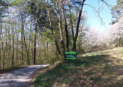 Lesní cesta Barbora - oficiální cedule u Babic nad Svitavou