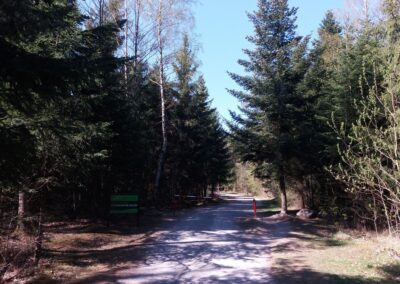 Lesní cesta K Hlinkovým dolům - začátek / konec u Rudice