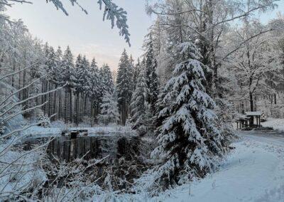 Lesní cesta Schindlerova - celkový pohled na retenční nádrž a odpočívadlo v zimě
