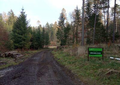 Lesní cesta Zrcadlová - začátek / konec při silnici Olomučany - Rudice